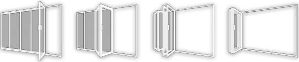 bi-folding doors wireframe diagram showing fully open and closed examples