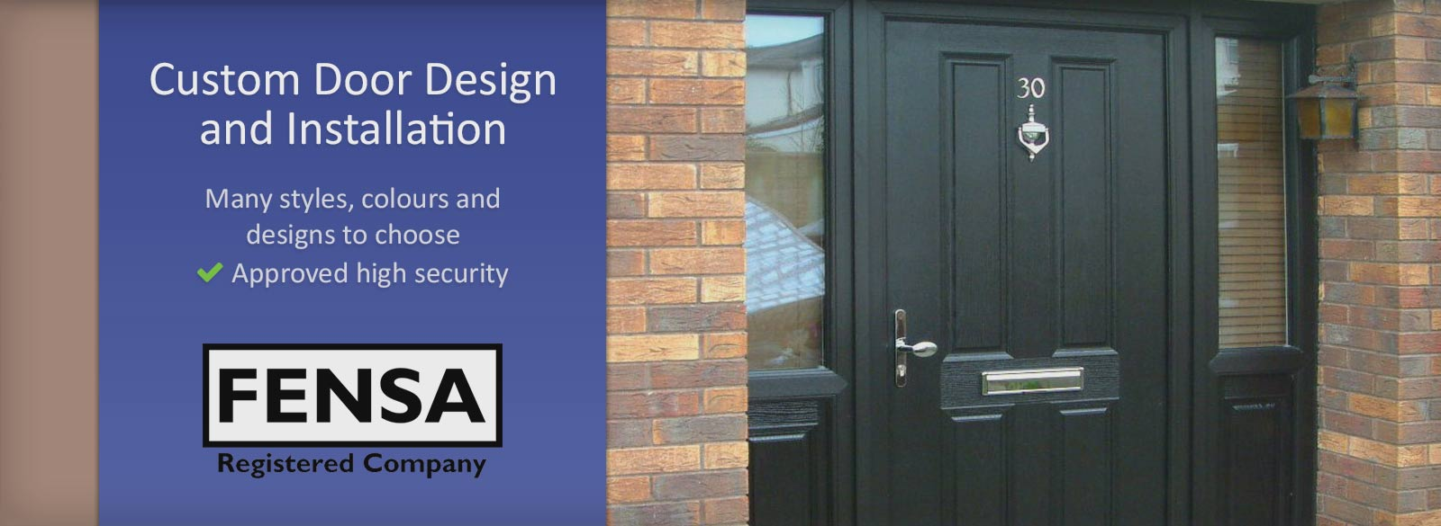 Solid brown composite door with brass trim, design and installation service