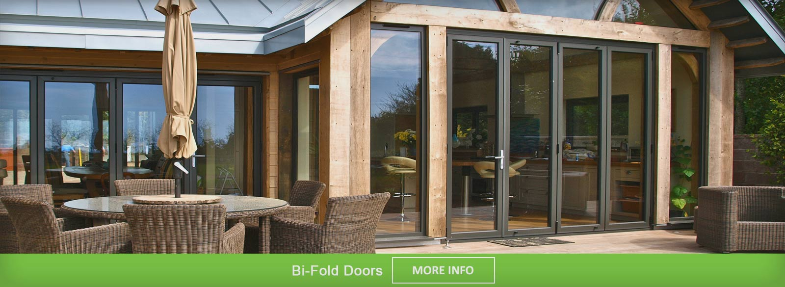 Modern Bi Fold door on a new build property with oak frame