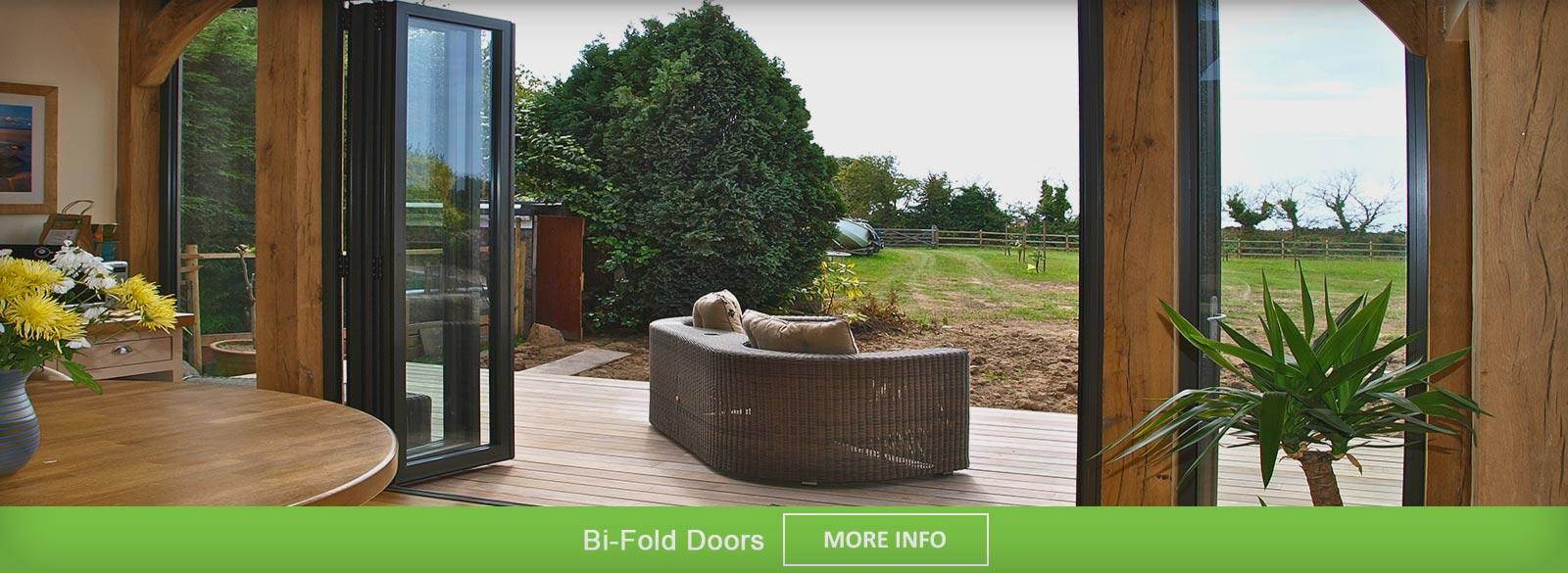 Brown Aluminium Bi Fold doors viewed from outside when doors are closed
