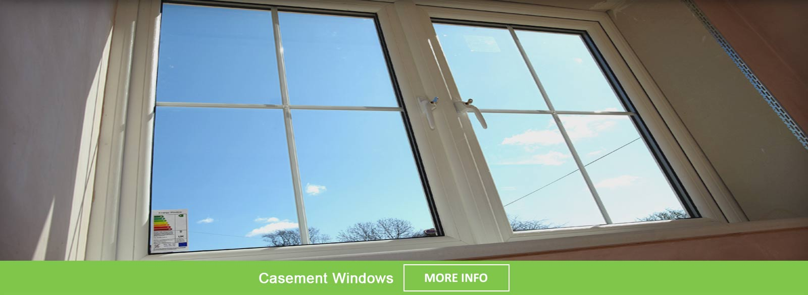 White PVCu casement window internal view